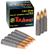 Tula 7.62x39mm 122gr FMJ - Steel Case - 1000 rd Case