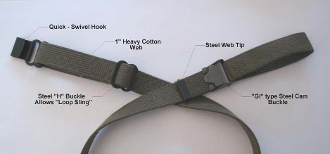 "Rifle Sling - OD Green Cotton - 1"" Wide, 48"" Long"